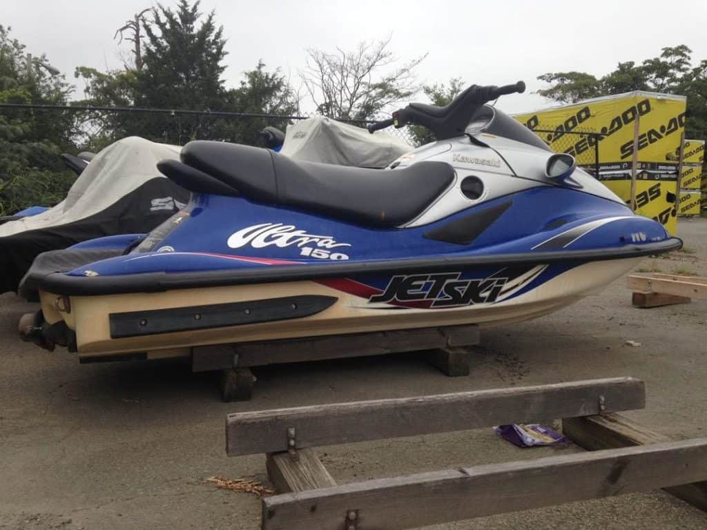 Jet ski storage on wooden stands