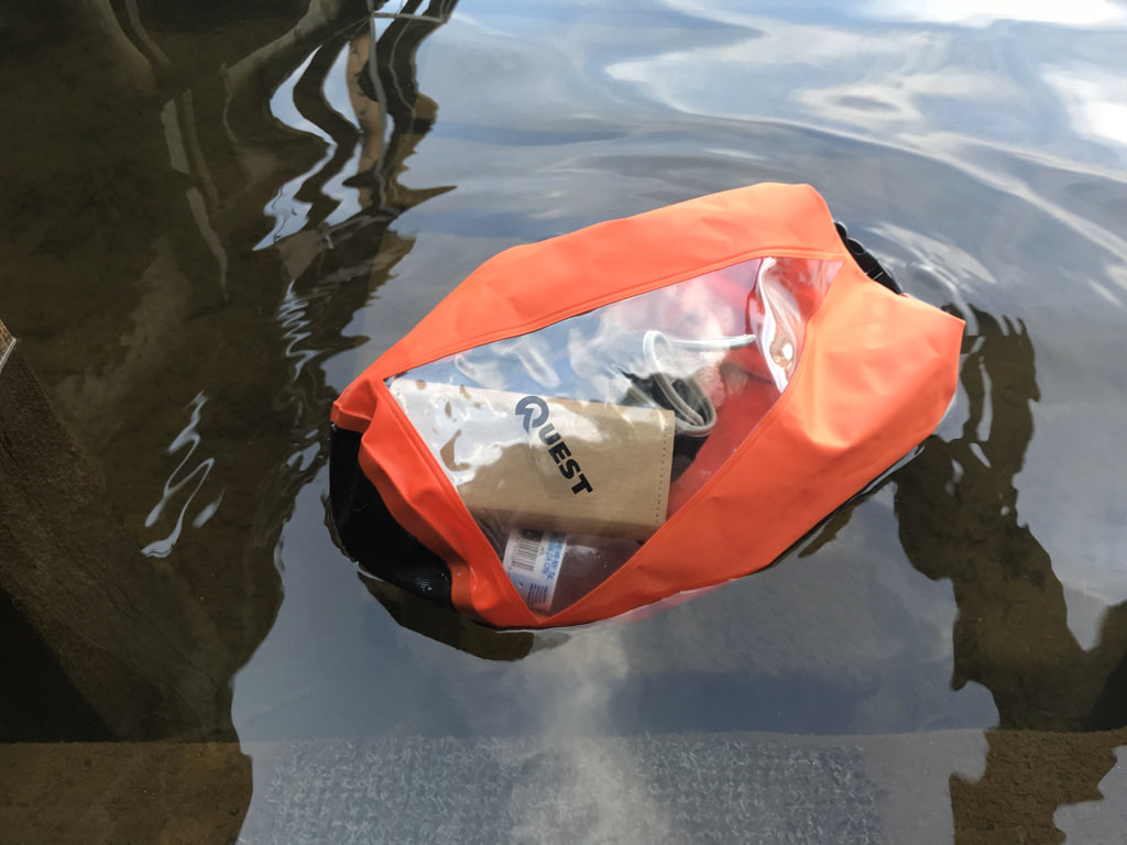 dry bag in water floating